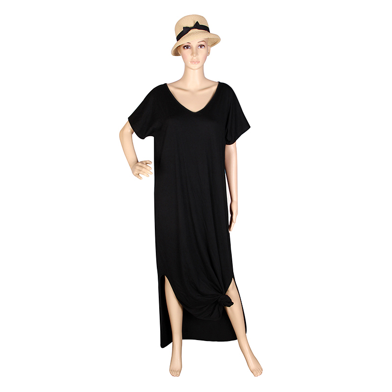 Kvinnor Klänningar Mode Sommar Boho Beach Klänningar Split Kortärmad Tillfällig Klänning Elegant Maxi Klänning Vestido LJ9223E