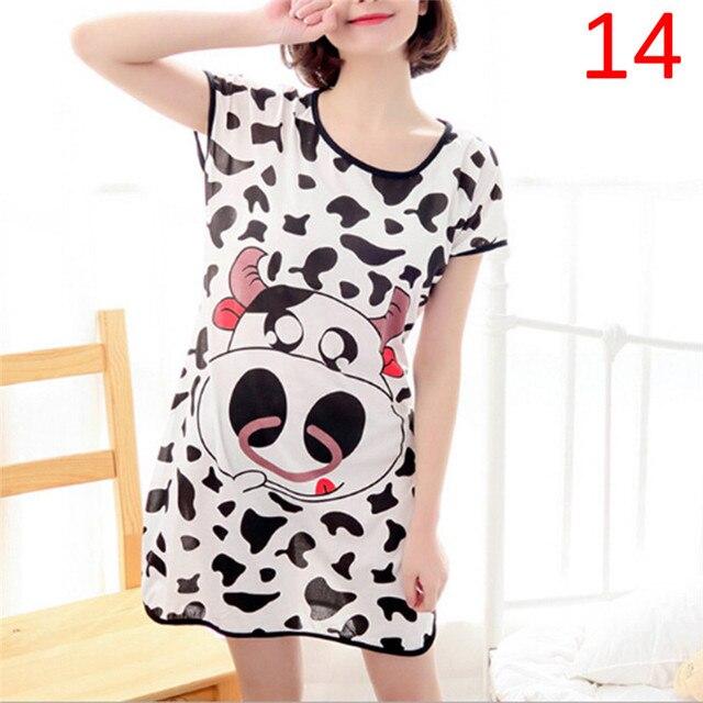0227b8e262 Women Nightgown Cartoon Polka Dot Bear Panda Rabbit Sleepwear Short Sleeve  Casual Night Shirt Sleepwear Nightwear