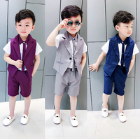 Baby Boy Clothes Set Weddings Boy Tuxedo Formal Suit Polka Dot Blazer Vest + Shirt + Shorts 3PCS Summer Prom Sets Party Dress