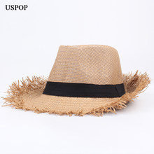 ee1051b1 USPOP 2019 Newest summer sun hats unisex jazz straw hat casual rough brim  edges beach hat British straw fedoras