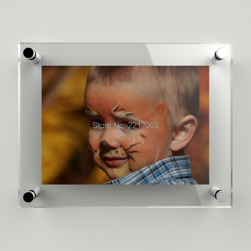 (Pack/2units) 16x24 Wall Mounted Floating Acrylic Picture Frame,Lucite Gallery Signage Display Prints for Picture,Poster