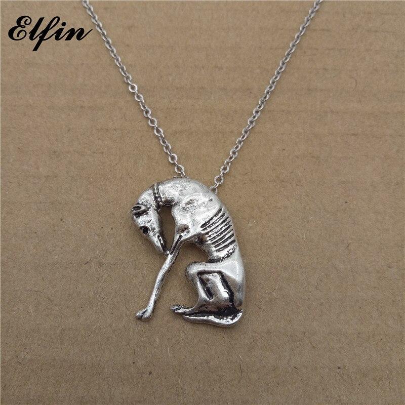 Elfin 2017 Trendy Italian Greyhound Necklace Fashion SLOUGHI Jewellery Spanish Grey Hhound Whippet Pendant Necklace Women