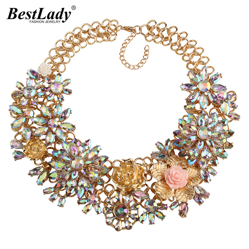 Best lady 2016 AB Chunky Flower Luxury Vintage Charms Necklace & Pendant Statement Collar Rhinestone Accessories Jewelry 3618