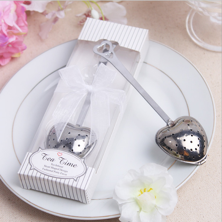 Heart Shaped Tea Infuser Stainless Steel Spoon Strainer Steeper Handle Shower Fashion Tea Spoon Wedding Box Package Favors Gifts