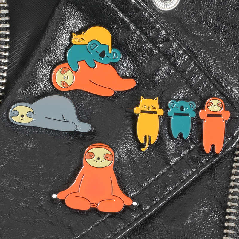 4 Pin Cartoon Sloth Koala Cat Brooches for Women Cute Animal Badge Jewelry Enamel Pin Denim Jackets Backpack Accessories Gifts