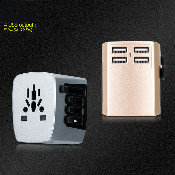 2pcs New Universal Travel Adapter Electric Plugs Sockets Converter US/AU/UK/EU 4 USB Charging