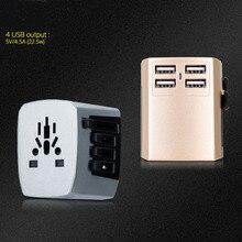 New Universal Travel Adapter Electric Plugs Sockets Converter US/AU/UK/EU 4 USB Charging цена