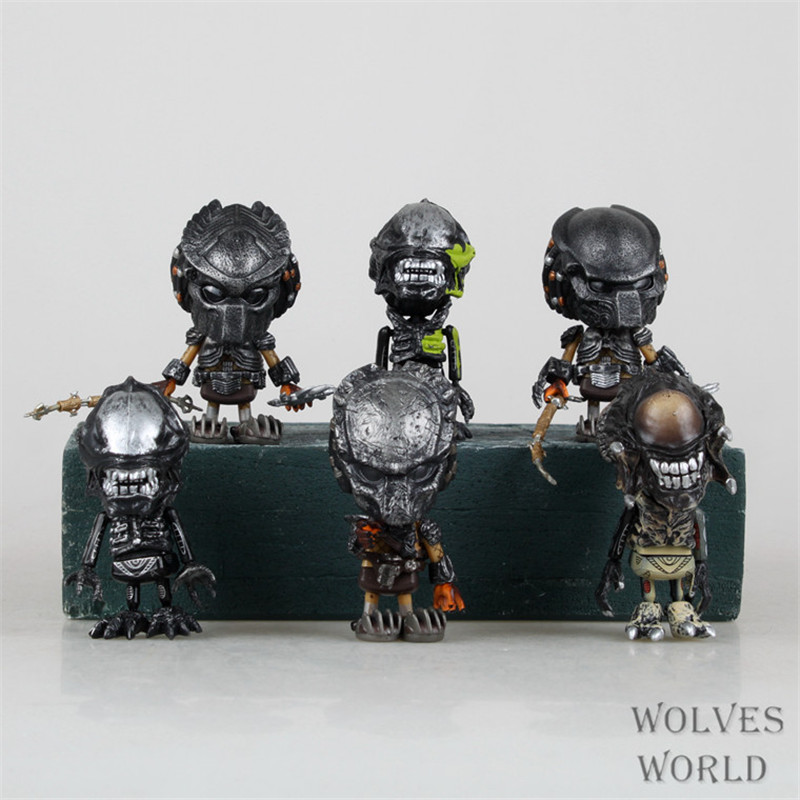 WVW 6pcs/Set Hot Sale Q Version Movie Hero Predator Alien Play Arts Model PVC Toy Action Figure Decoration For Collection Gift new hot 26cm alien vs predator enhanced version piay arts action figure toys christmas gift collectors