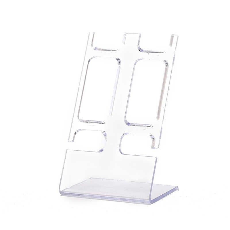 מעמד פלסטיק 2-holder showcase rack מדף מדף מדף הראווה הכללית שעון נייד דוכן תצוגת תכשיטי תיבת אחסון מקרה
