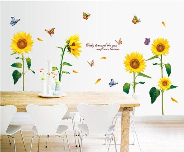 Sonnenblume Schmetterling Schöne Schlafzimmer Wandaufkleber Fashion Wall  Poster Warmes Zuhause Schöne Tapete Wohnkultur