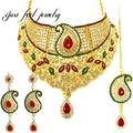 New India Antique Kundan 3PC Maxi Necklace Set Color Mix Crystal&Rhinestones Pendant Collier Female Statement Jewelry