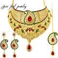 Nuevo India Antique Kundan 3 UNID Maxi Collar Color de La Mezcla de Cristal y Diamantes de Imitación Colgante de collar Mujer Joyería Declaración