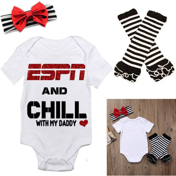 summer children set clothes newborn baby Girls clothing ESPN and Chill with My Daddy Romper Jumpsuit Leg Warmers Headband Outfit 4pcs set newborn baby clothes infant bebes short sleeve mini mama bodysuit romper headband gold heart striped leg warmer outfit