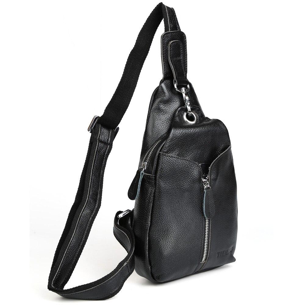 TIDING unisex messenger sling bag mens black leather cross body bag for boys casual style 3041R tenba shootout sling medium silver black рюкзак для фотооборудования