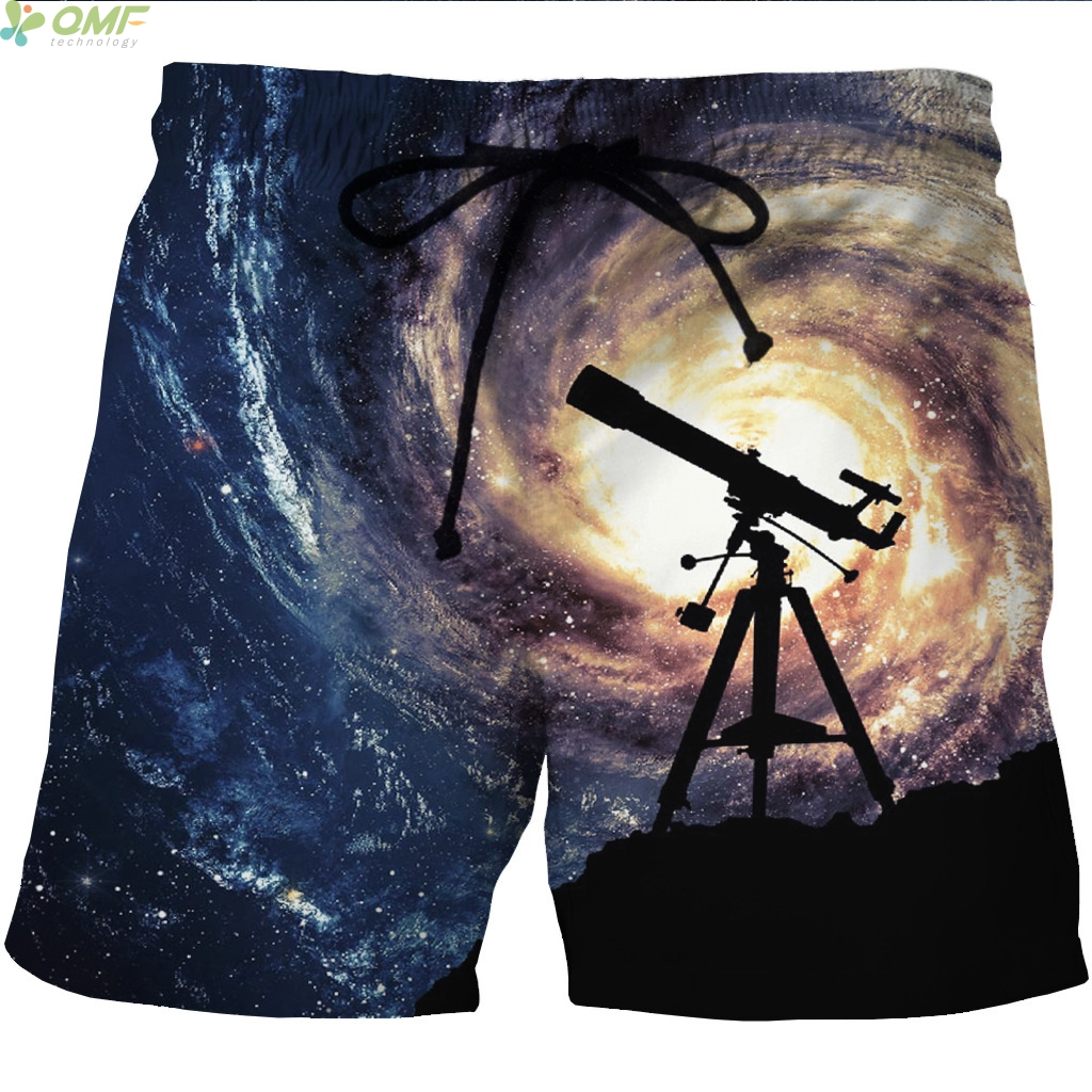 Abstract Wolf Mens Beach Shorts Breathable Athletic Shorts with 3 Pockets