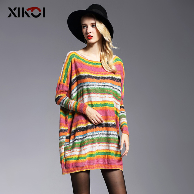 XIKOI Oversize Long Women Sweaters Fashion Batwing Sleeve Print Slash Neck Casual Pullovers Computer Knitted Sweater Clothing