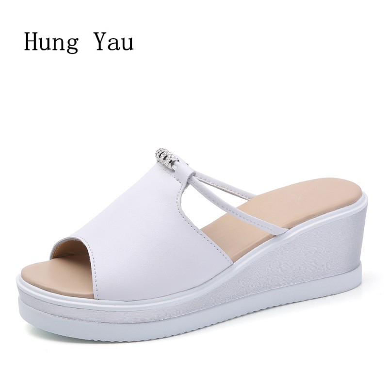 Women Sandals 2018 Summer Genuine Leather Shoes Woman Flip Flops Wedges Fashion Platform Female Slides Ladies Shoes Peep Toe women sandals flip flops 2018 new summer fashion rhinestone wedges shoes woman slides crystal bohemia lady casual shoes female