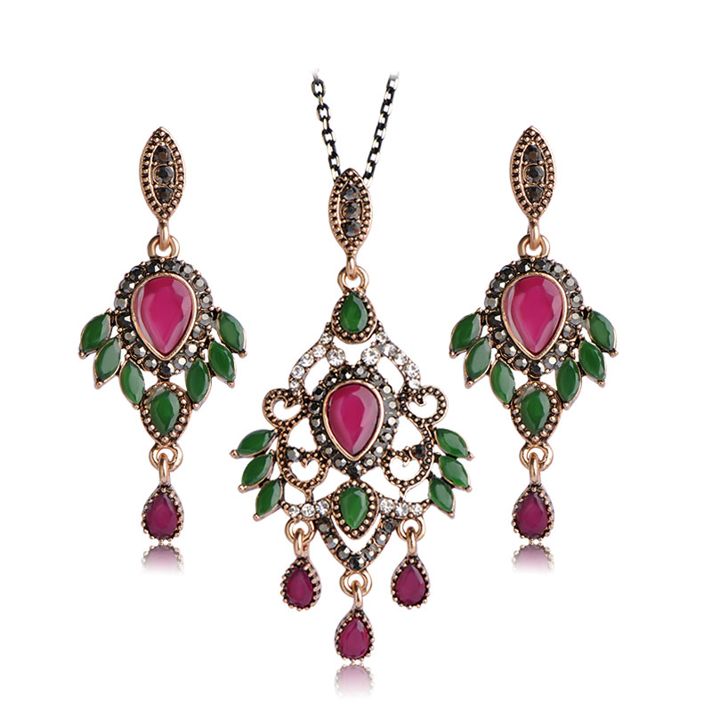 Blucome Turkish Jewelry Set For Women Antique Gold Color Resin Flower Pendant Necklace Drop Earrings Set Crystal Vintage Schmuck