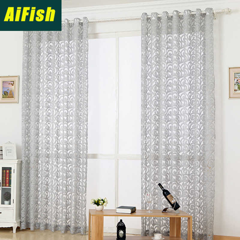Grey Luxury European tulle bedroom curtains Window Pink sheer Curtains For Living Room Pteris Tulle window Balcony decor WP051&2