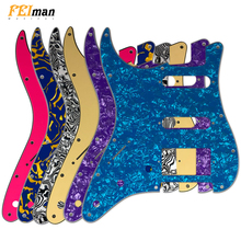 цена на Pleroo left handed 11 Screw Hole Pickguard for Fender Stratocaster USA/Mexican Standard ST HSS with PAF Humbucker guitar parts