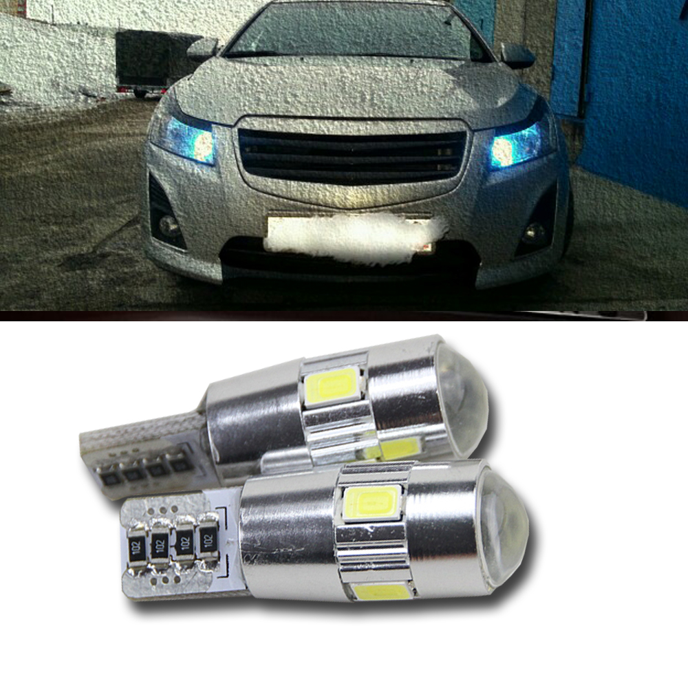 2 X T10 LED W5W Car LED Auto Lamp 12V Light bulbs with Projector Lens for chevrolet captiva cruze 2015 new Sail LOVA Epica etc 2 x t10 led w5w canbus car side parking light bulbs with projector lens for mercedes benz c250 c300 e350 e550 ml550 r320 r350