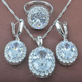 Shining White Cubic Zircon Women's      925 Sterling Silver Jewelry Sets Necklace Pendant Earrings Rings Free Shipping TZ067