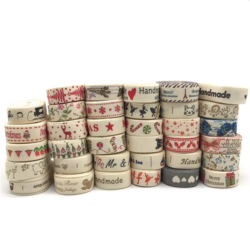 "HTB1zdFSEXmWBuNjSspdq6zugXXaG 5Yards 15mm Multi Design ""Handmade"" Printed Cotton Lace Ribbon Sewing Fabric Wedding Decoration Gift Wrapping Christmas Ribbon"