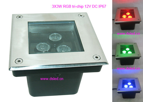 Free shipping by DHL ! IP67 high power 9W RGB LED underground light,RGB led floor recessed light,DS-11D-L120-9W-RGB,12VDC