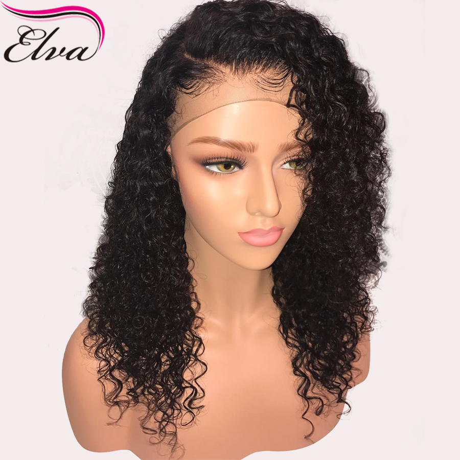 Elva Hair 150% Density Lace Front Bob Wig 13x6 Pre Plucked Deep Curly Brazilian Remy Lace Front Human Hair Wigs With Baby Hair