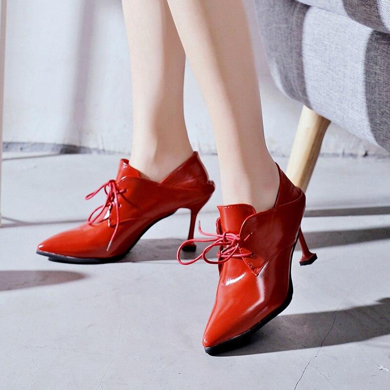allumette Talon Femmes Lacent Frais Européenne Chaussures Choisit Des Petit Tout Hauts rouge Dames Sexy Noir Cuir En Conception Talons Pompes Chat O0knwP