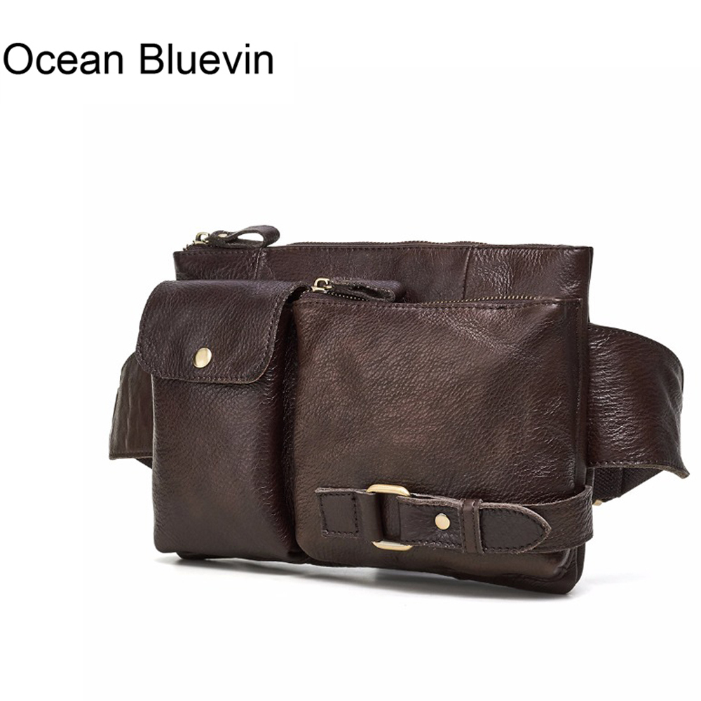 OCEAN BLUEVIN New Genuine Leather Men Bag Messenger Vintage Men Waist Bag Leather Waist Pack Fanny Pack Bum Bag Money Belt Bag