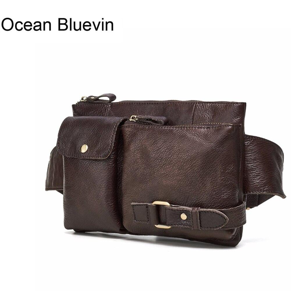 OCEAN BLUEVIN New Genuine Leather Men Bag Messenger Vintage Men Waist Bag Leather Waist Pack Fanny Pack Bum Bag Money Belt Bag цена 2017