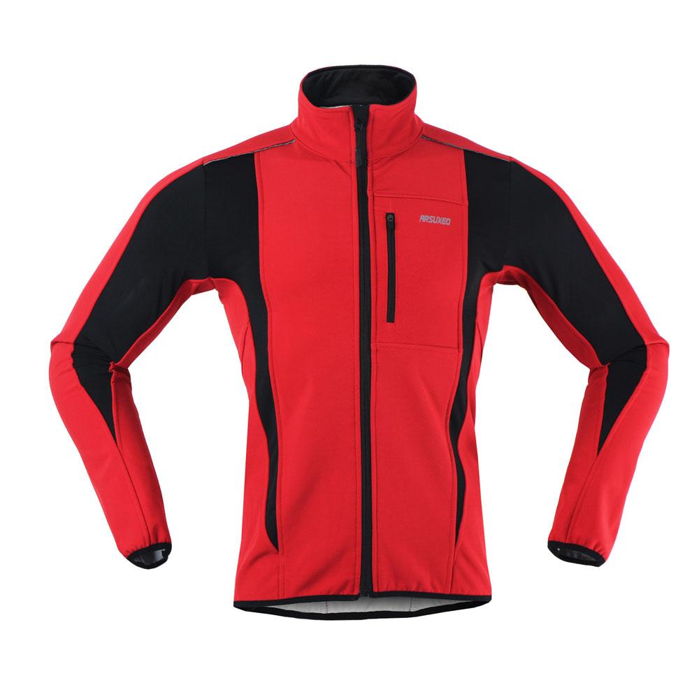 Prix pour ARSUXEO 2017 Thermique Cyclisme Veste D'hiver Chaud Jusqu'à Vélo Clothing Coupe-Vent Imperméable Soft shell Manteau VTT Vélo Jersey
