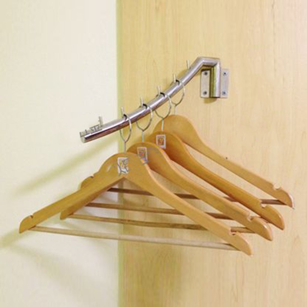 Robe Hooks 1pcs Stainless Steel Clip Stand Clothes Hanger Pants Skirt Kid Clothes Swing Left And Right Save Space Clothing Organizer Bathroom Fixtures