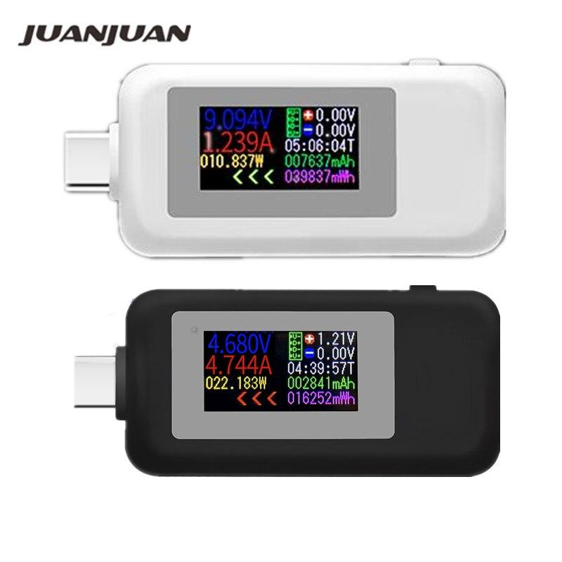 Pantalla a Color USB tipo C probador 0-5A corriente 4-30V voltaje conector Digital banco de energía cargador enchufe probador 40% de descuento