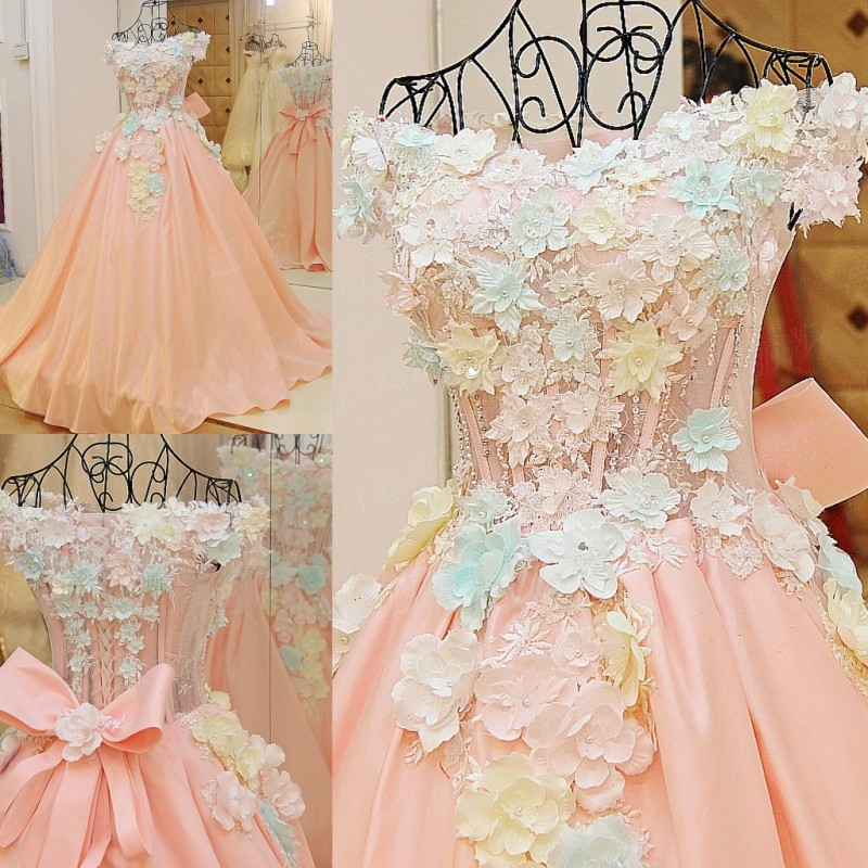 High-grade Bride Princess Sweet Pink Lace Flower Luxury Satin A-line Long Party Gown Wedding Dresses robe de mariee