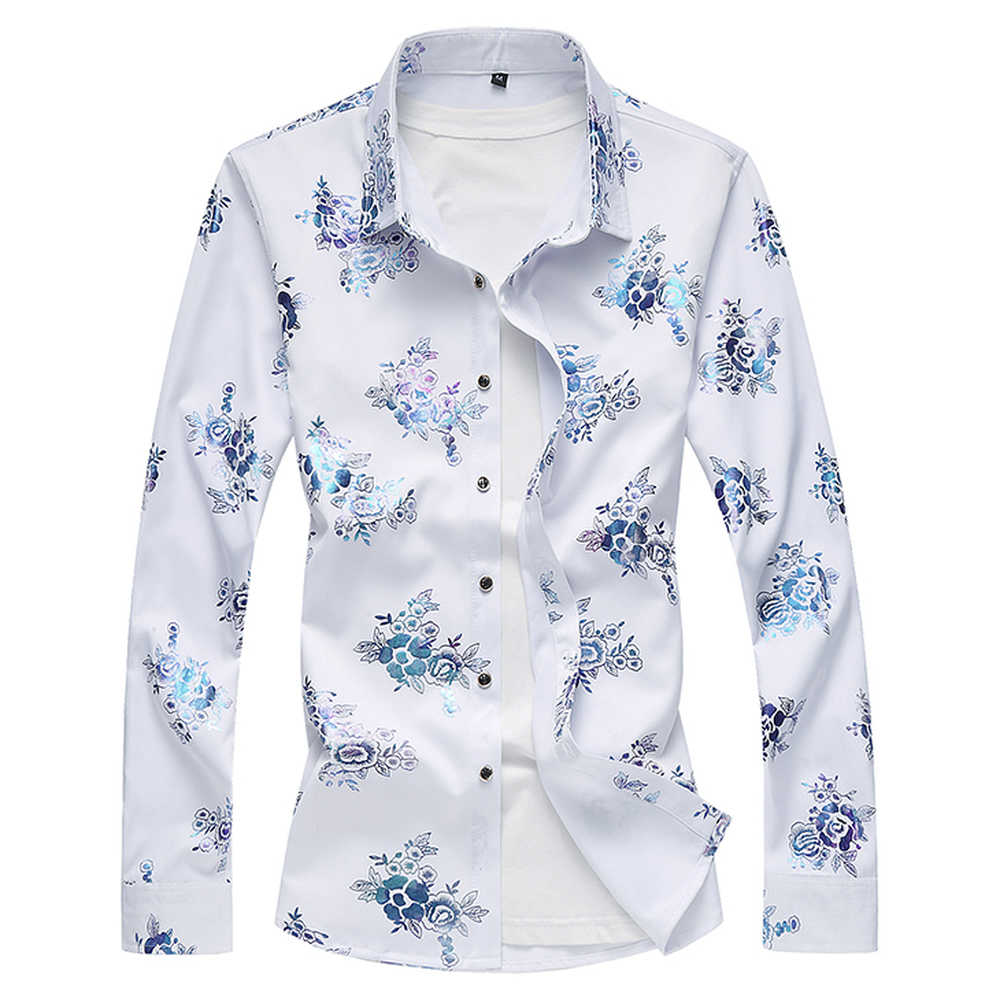 2018 New Mens Long Sleeve Shirt Fashion Casual Flower Print Shirt Male Elegant Comfortable Shirts Large Size M-7XL Man Tops
