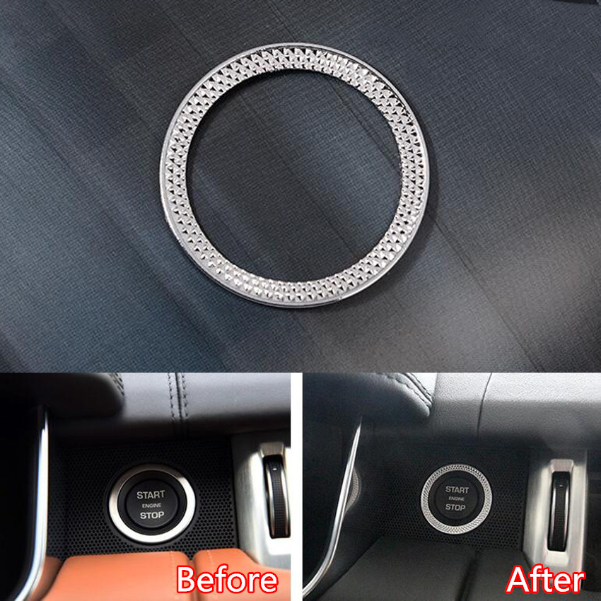 YAQUICKA Car Engine Start Stop Ring Trim Cover Sticker For Land Rover Discovery Sport Range Rover Sport Evoque Vogue Car-styling