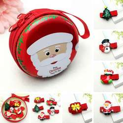 Рождественский Стиль новорожденных девочек блеск красочные зажимы для волос Мультфильм Санта Клаус Снеговик шпильки в форме утконоса с