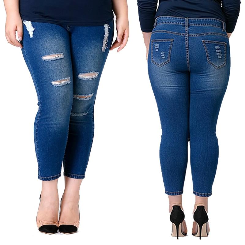 Monikubu Women's fashion casual brand big plus size clothing ankle-length denim hole ripped jeans pants trousers for female plus size clothing suspenders mm women jeans 2016 ankle length braces denim trousers female hole bib pants