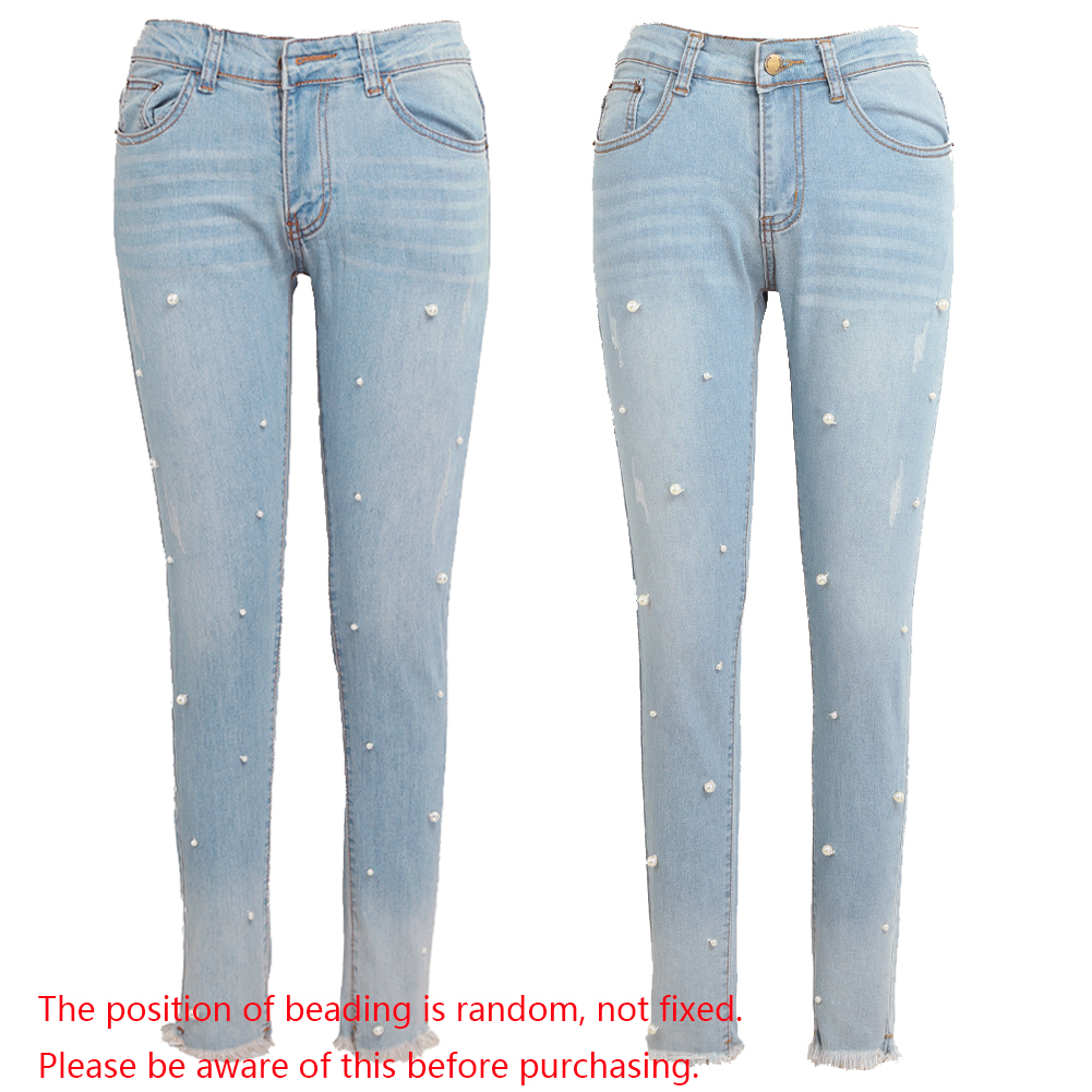 Femmes Jeans délavé Denim perles Faux perle gland effiloché fermeture éclair taille moyenne Skinny décontracté crayon pantalon femme pantalon bleu clair