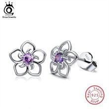 ORSA JEWELS 100% 925 Sterling Silver Earrings For Women With Clear Blue Red Purple Zircon Stud Jewelry OSE71