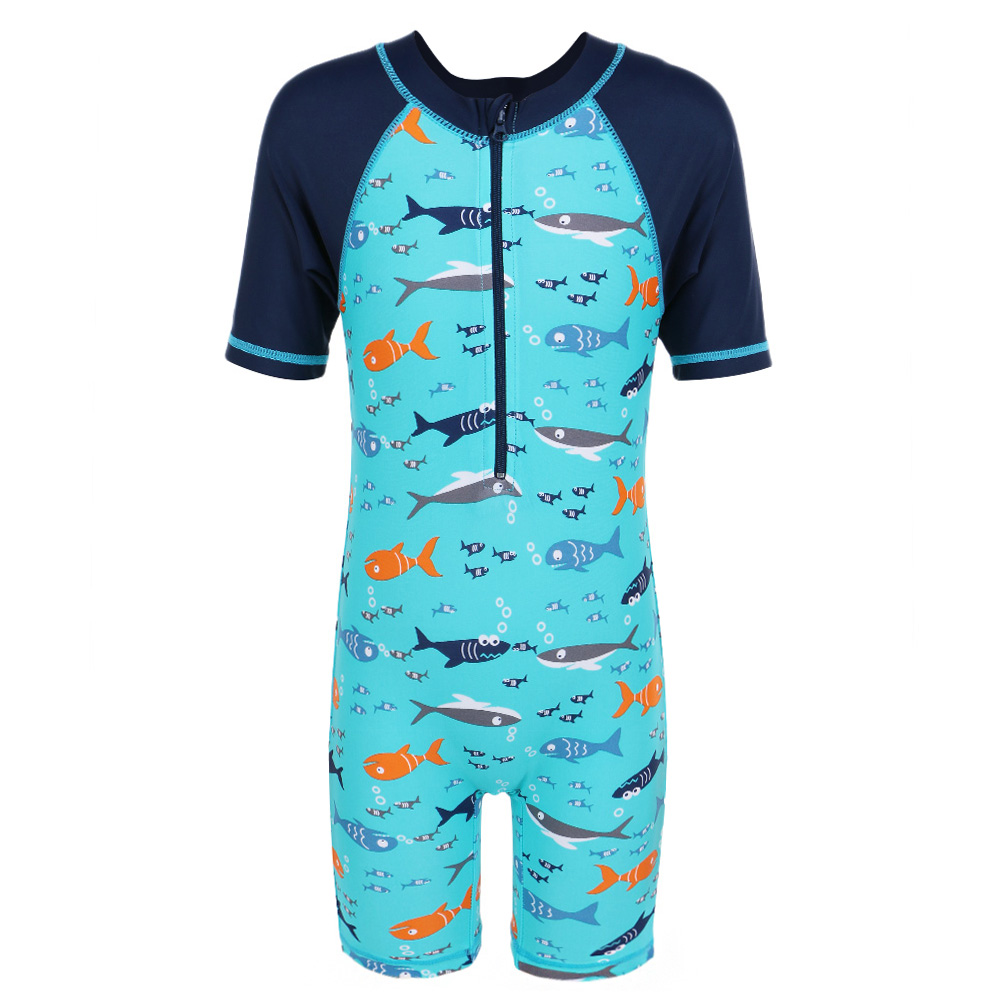 Baby Boys Girls Cartoon Shark Rash Guard Swimsuit Stripe Star One-Piece UV Protection Swimwear