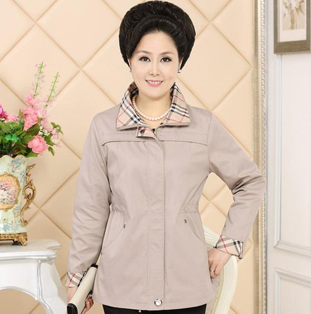 Mamá primavera y otoño escudo 2016 moda de mediana edad de cuello a cuadros Zip Solid chaqueta de gran tamaño mujer A165