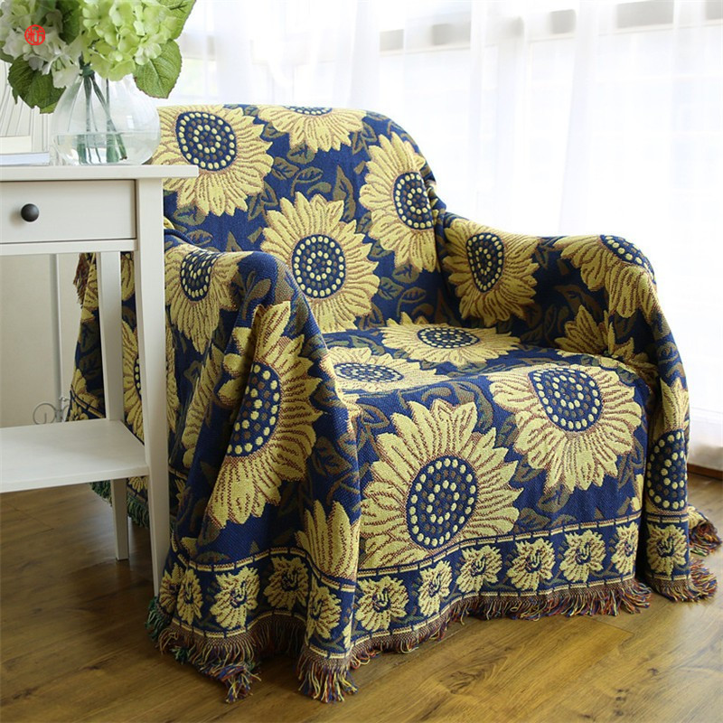 Home decor Blue Sunflower Blanket blending Tassel Blankets Bohemia bed sofa chair table cover American village bedspread textile