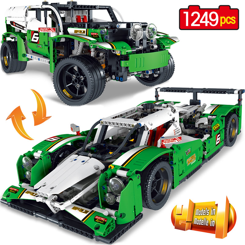 Technology Series Building Blocks Educational Action Figures Children Blocks Bricks Children's day Toys Toys Racing Car lepin 02064 404pcs city series jungle semi track car model building blocks bricks toys for children action figures