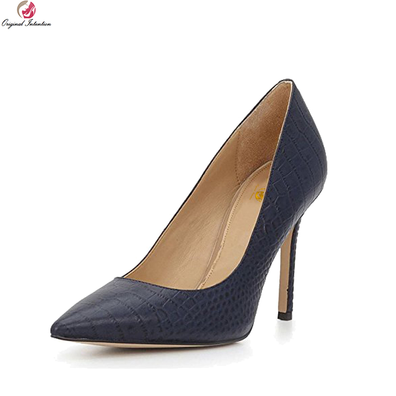 Original Intention New Sexy Women Pumps Fashion Pointed Toe Thin Heels Pumps Elegant Navy Blue Shoes Woman Plus US Size 4-15 bowknot pointed toe women pumps flock leather woman thin high heels wedding shoes 2017 new fashion shoes plus size 41 42