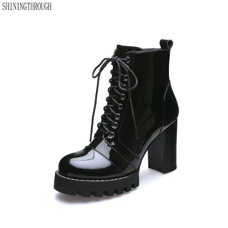 新ファッション牛パテントレザー女性のアンクルブーツ女性秋の冬の革の靴女性プラットフォームレディースブーツ  グループ上の 靴 からの アンクルブーツ の中 1