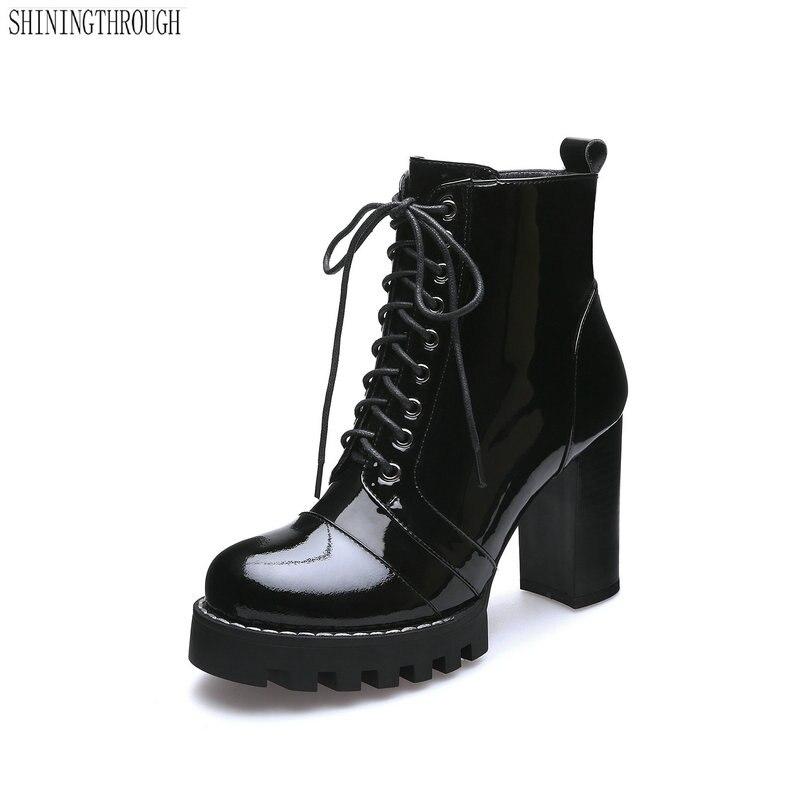 Ayakk.'ten Ayak Bileği Çizmeler'de Yeni Moda İnek Patent Deri Kadın yarım çizmeler Kadın Sonbahar Kış Hakiki deri ayakkabı Kadın Platformları Bayanlar Çizmeler'da  Grup 1