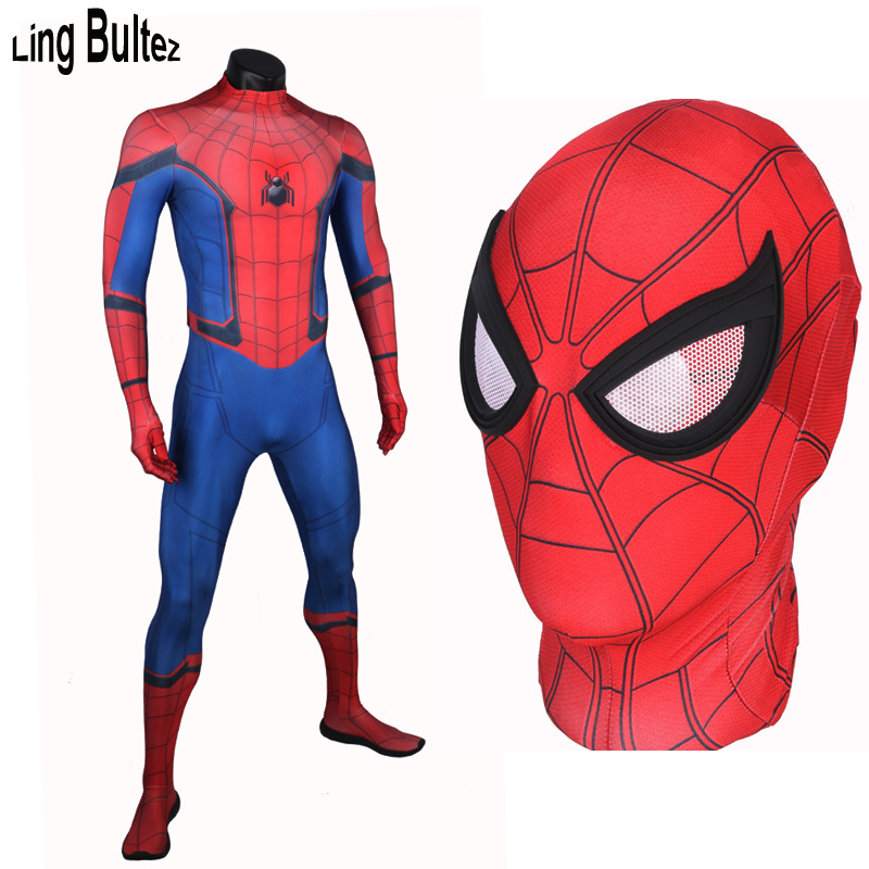 Ling Bultez Fog Free Unbreakable Eyes Tom Holland Spiderman Suit Homecoming Spiderman Costume Custom Made Newest Spiderman Suit